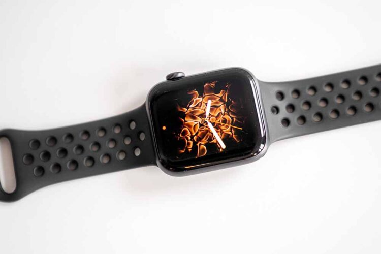 Smart watch isolated with display fire background on white backg